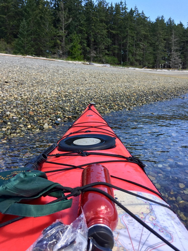 July 24th, 2020 - Rebecca Spit Beach - I paddled into a lee area - where I double checked everything before setting back out into the wind and waves - to go around the point