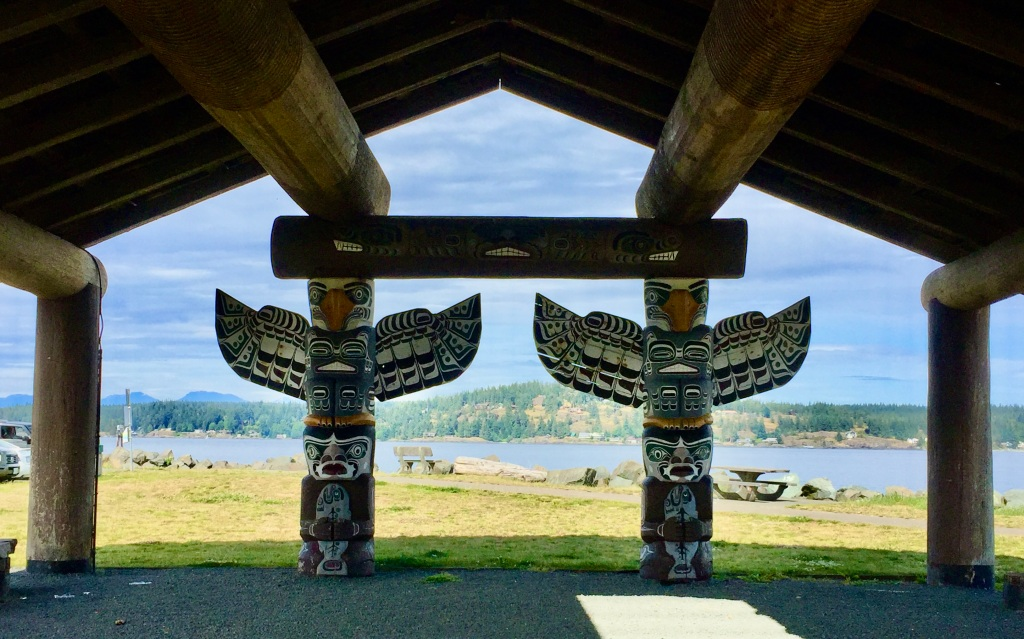 July, 2020 - Campbell River, Vancouver Island, British Columbia - Totems at Ferry Terminal