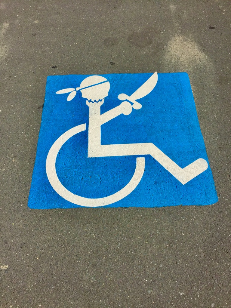 July, 2020 - Campbell River, Vancouver Island, British Columbia - Fun handicapped parking signage