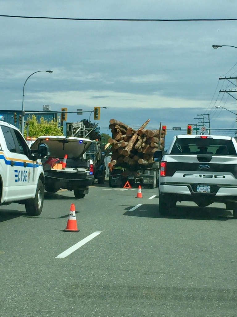July, 2020 - Campbell River, Vancouver Island, British Columbia - A driving fear I have come to life: Logs falling off a logging truck! I am thankfully driving past after the accident took place!
