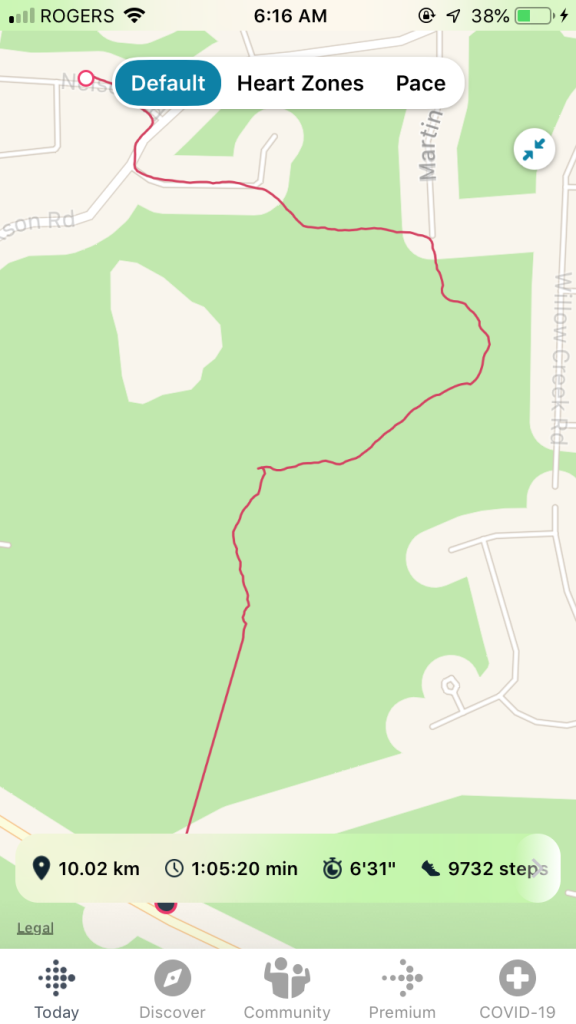 "July, 27th, 2020 - Personal Best - 6'31"" a kilometer - and of course my Fitbit lost connection to GPS during this run!"