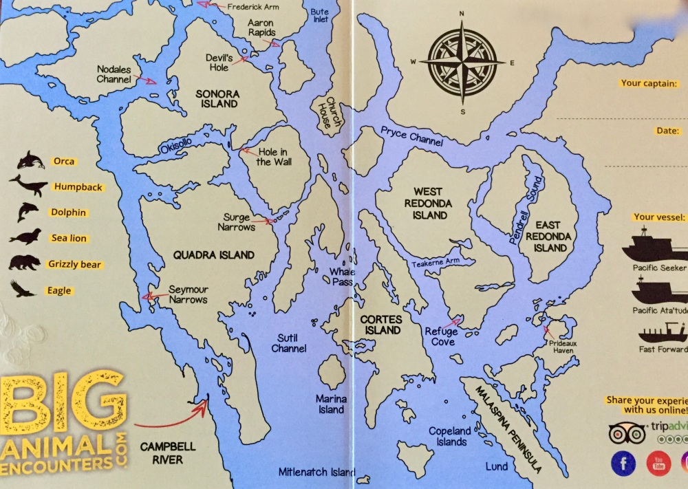 August, 2020 - Campbell River, BC - Big Animal Encounters - Map of Discovery Islands Archipelago
