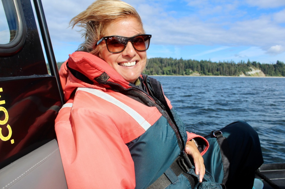 August, 2020 - Campbell River, BC - Big Animal Encounters - Joyful Stephanie! In my happy place - on the water!