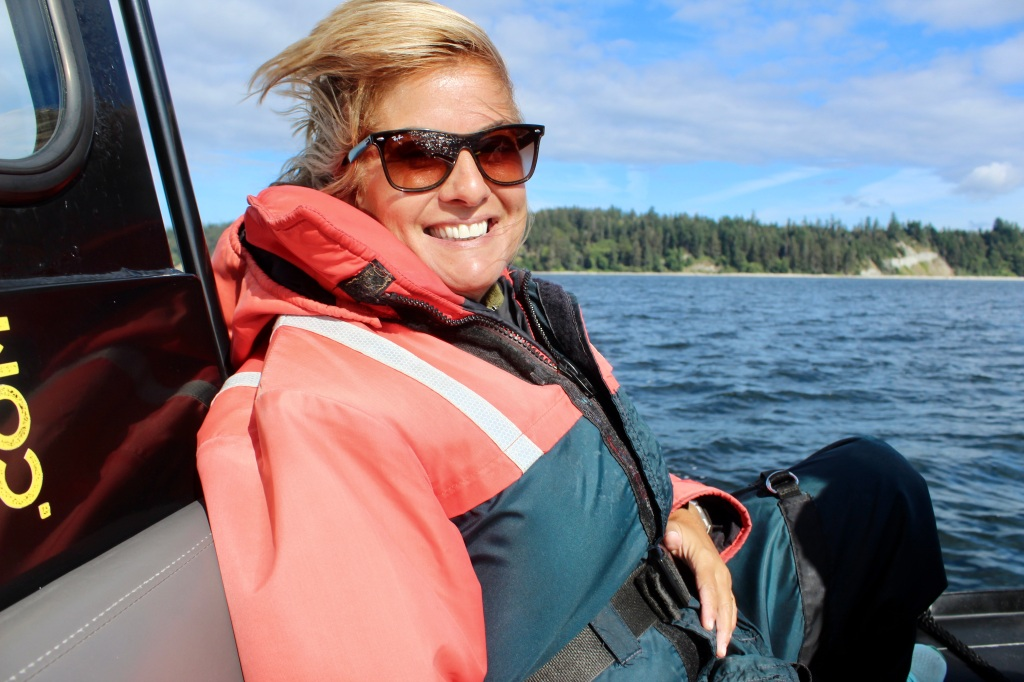 August 8, 2020 - Campbell River, BC - Big Animal Encounters - Joyful Stephanie! In my happy place - on the water!