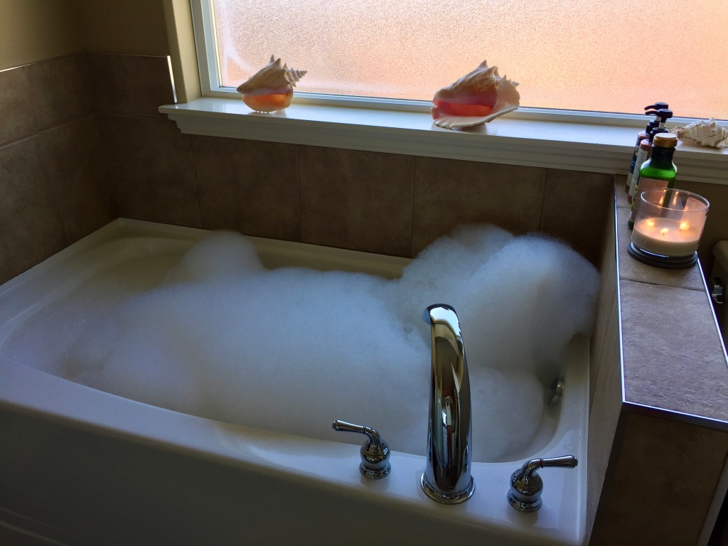 September, 2020 - Campbell River, Vancouver Island, British Columbia - Bubble bath! Yes!!