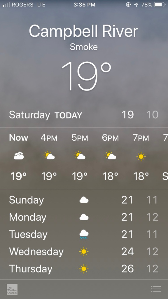 September, 2020 - Campbell River, Vancouver Island, British Columbia - Weather forecast is - Smoke!