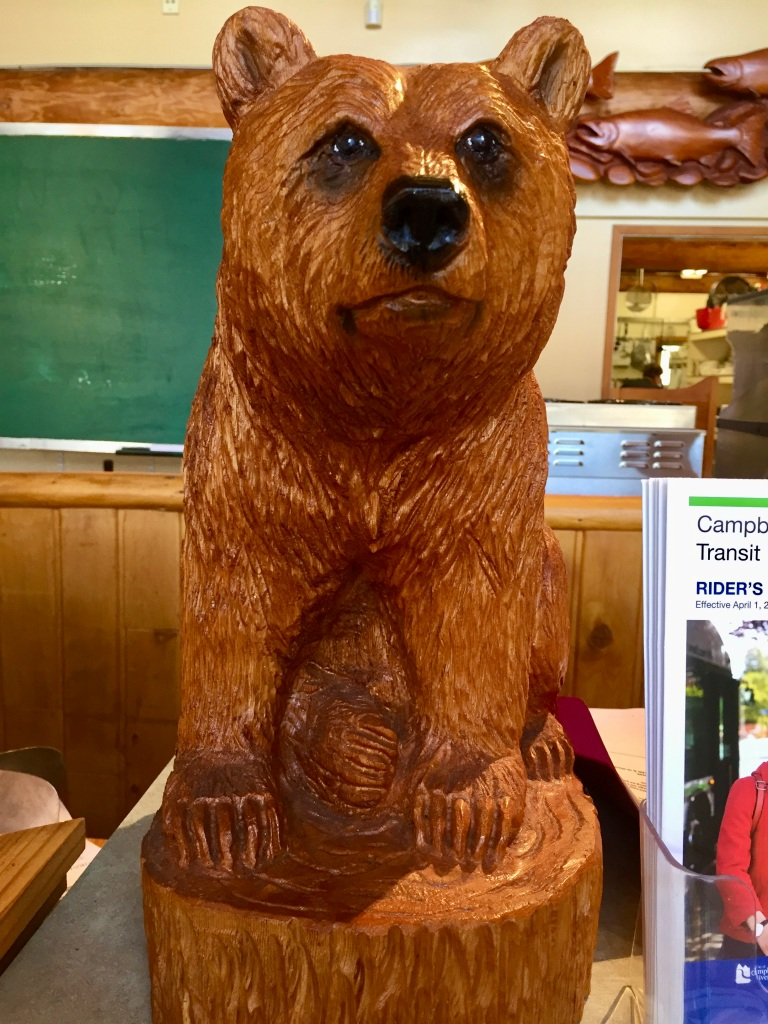 August/September, 2020 - Campbell River, Vancouver Island, British Columbia - Popsey's Restaurant - Bear wood carving