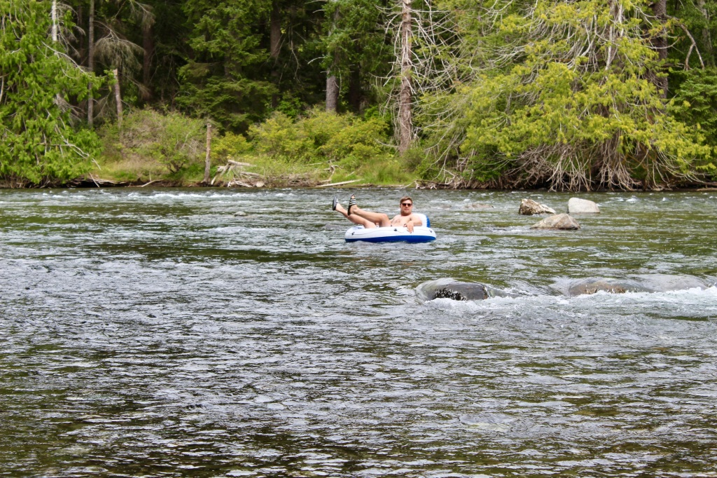 July, 2020 - Campbell River, Vancouver Island, British Columbia - Elk Falls Provincial Park - Waters of The Campbell River - Local tubing down the river!