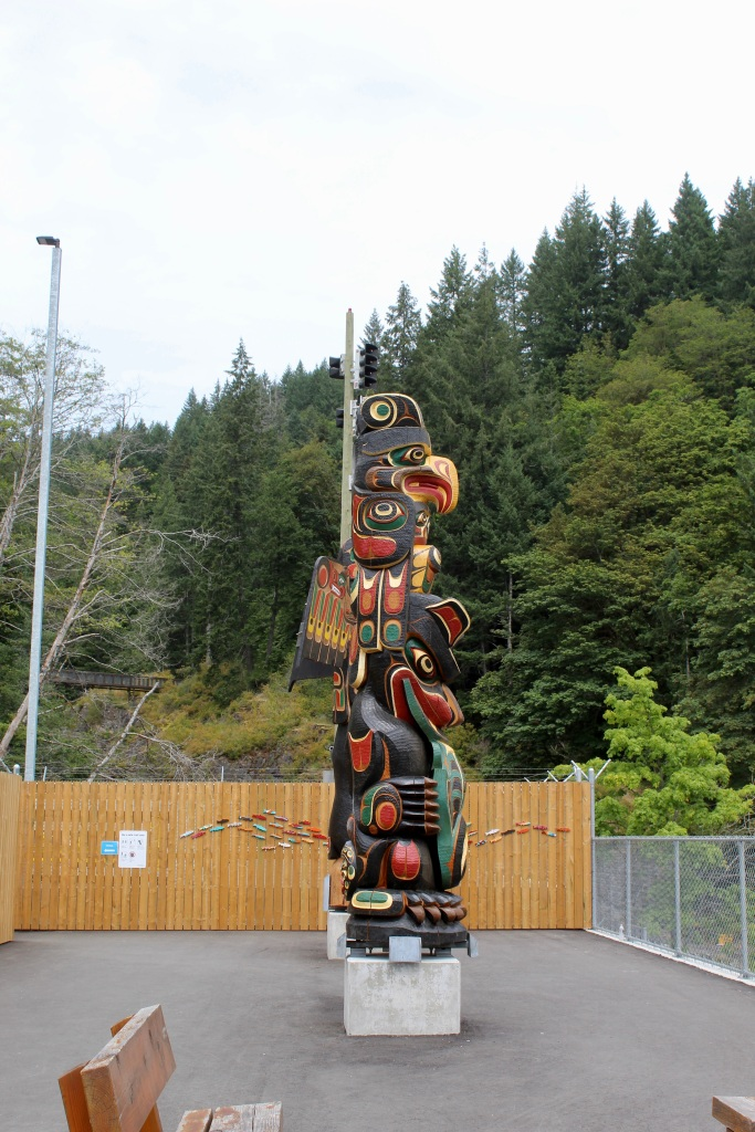 July, 2020 - Campbell River, Vancouver Island, British Columbia - Elk Falls Provincial Park - BC Hydro Station - Totems