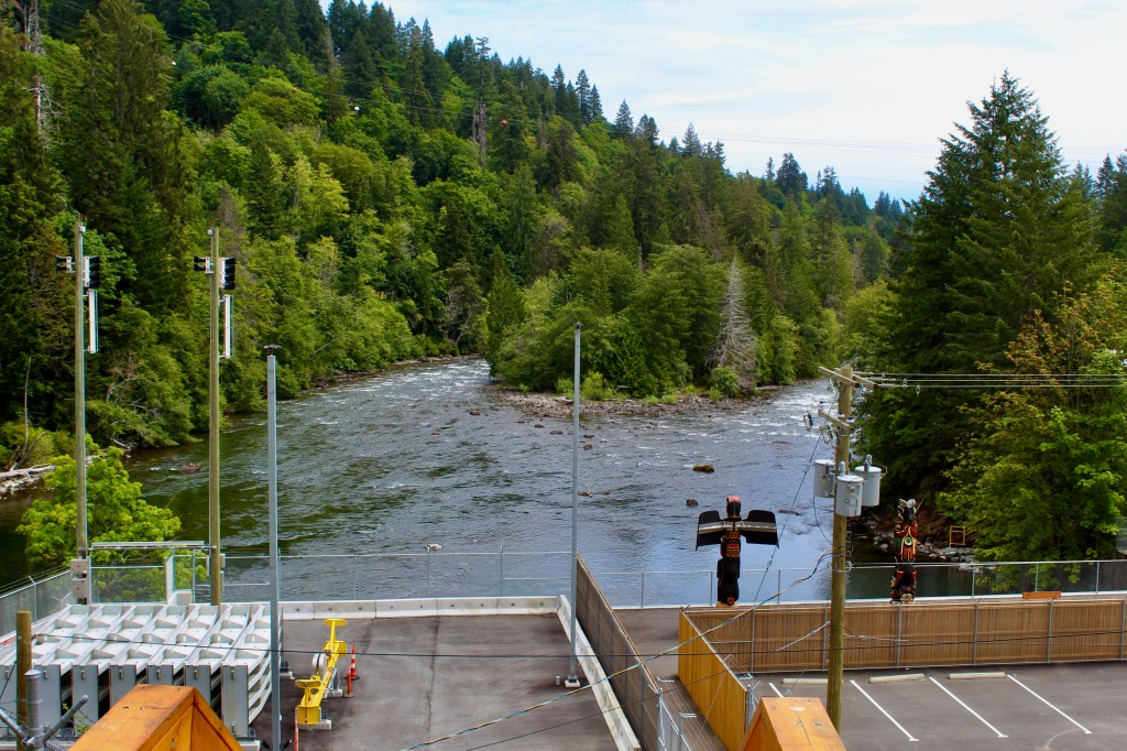 July, 2020 - Campbell River, Vancouver Island, British Columbia - Elk Falls Provincial Park - BC Hydro Station - View of Campbell Rivers