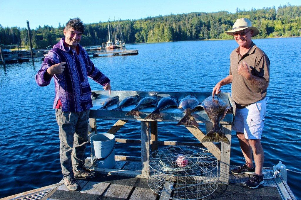 September 9th, 2020 - Hecate Cove, Vancouver Island - Michael's smallest halibut and Don's largest halibut!