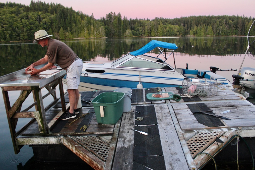 September 9th, 2020 - Hecate Cove, Vancouver Island - Don filleting the halibut