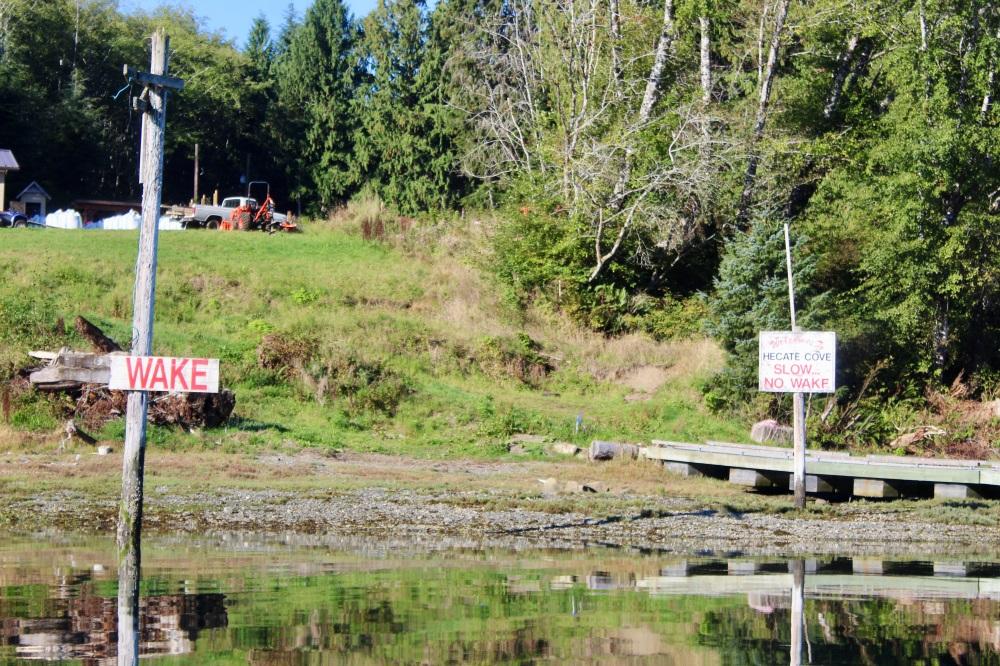 September, 2020 - Wake No Wake Signage - Hecate Cove, Quatsino Sound, Vancouver Island, British Columbia, Canada