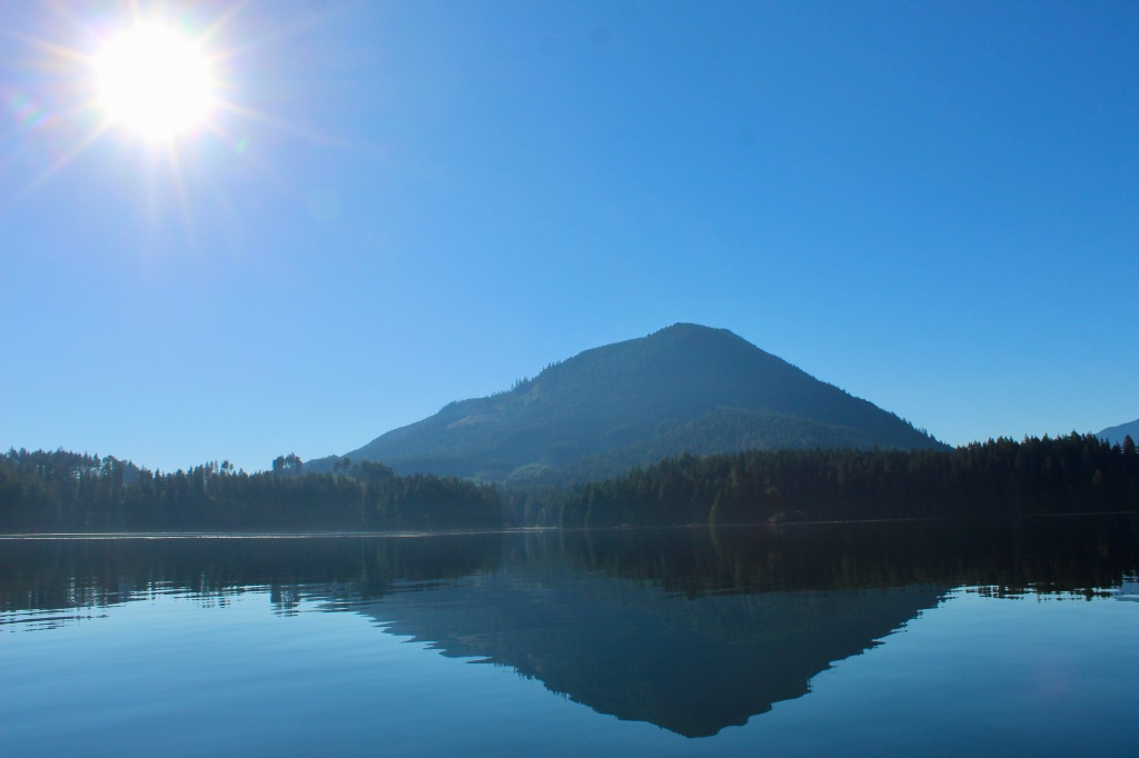 September, 2020 - Quatsino Sound, Vancouver Island, British Columbia - Mountain on the water