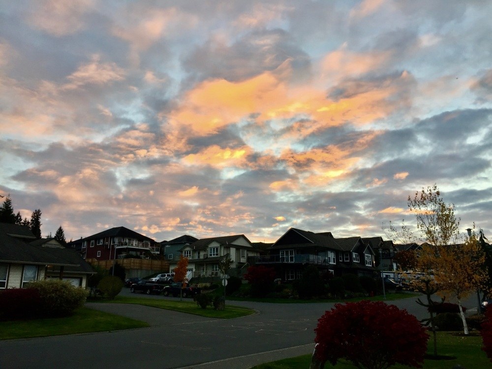 October 31st - Campbell River, Vancouver Island, British Columbia - Sunset over the subdivision