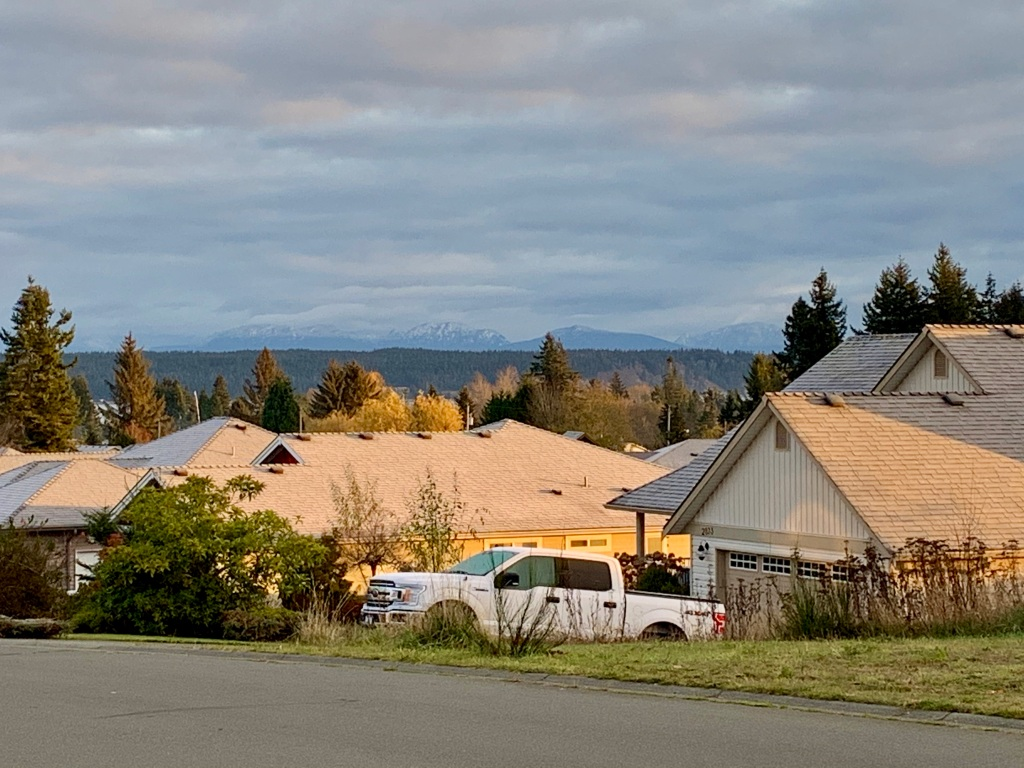 November 14th - Campbell River, Vancouver Island, British Columbia - Making my way up Nelson Rd towards S. Alder - view of the mainland Coastal Mountains with fresh snow.
