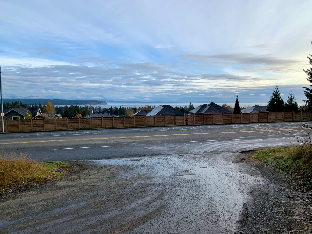 November 14th - Campbell River, Vancouver Island, British Columbia - Leaving Beaver Lodge Lands - with a view of Quadra Island.