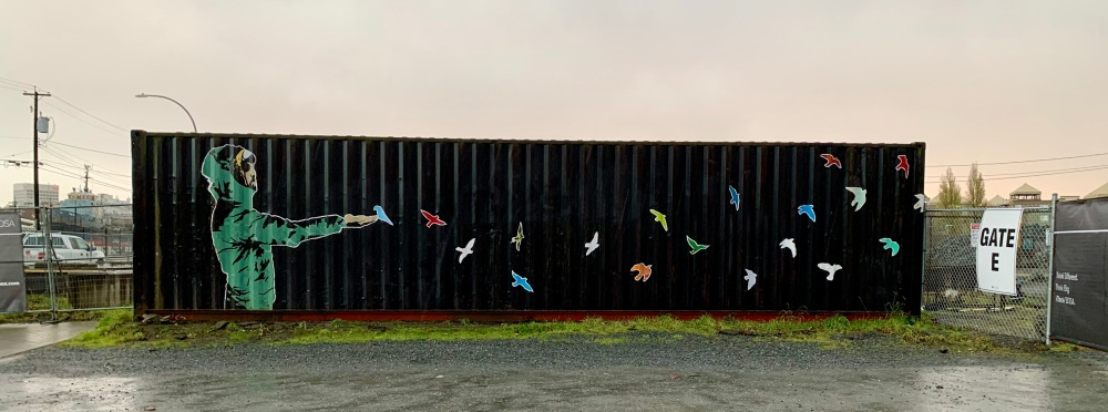 November 15th, 2020 - Victoria, Vancouver Island, British Columbia - Morning run - Cool painting on a container
