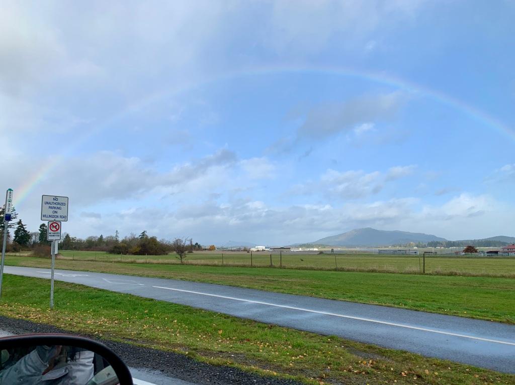 November 15th, 2020 - Victoria, Vancouver Island, British Columbia - Rainbow over the Victoria International Airport