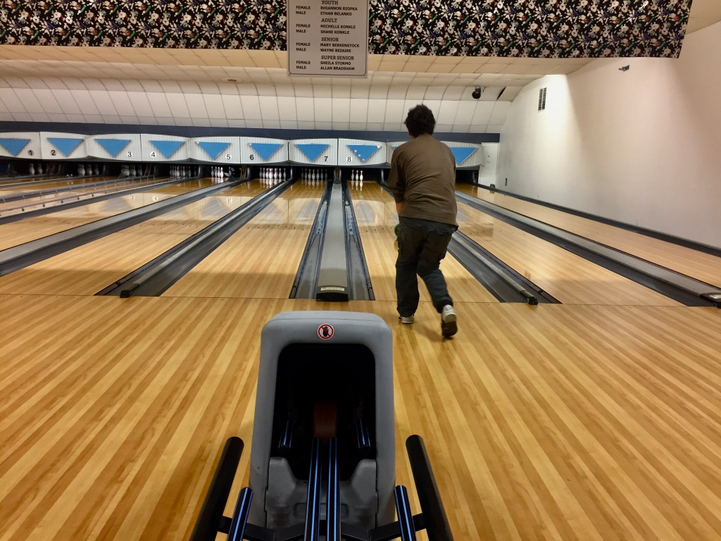 """Campbell River, Vancouver Island, British Columbia - Michael's turn... and as he would say, """"Stupid bowling!"""""""