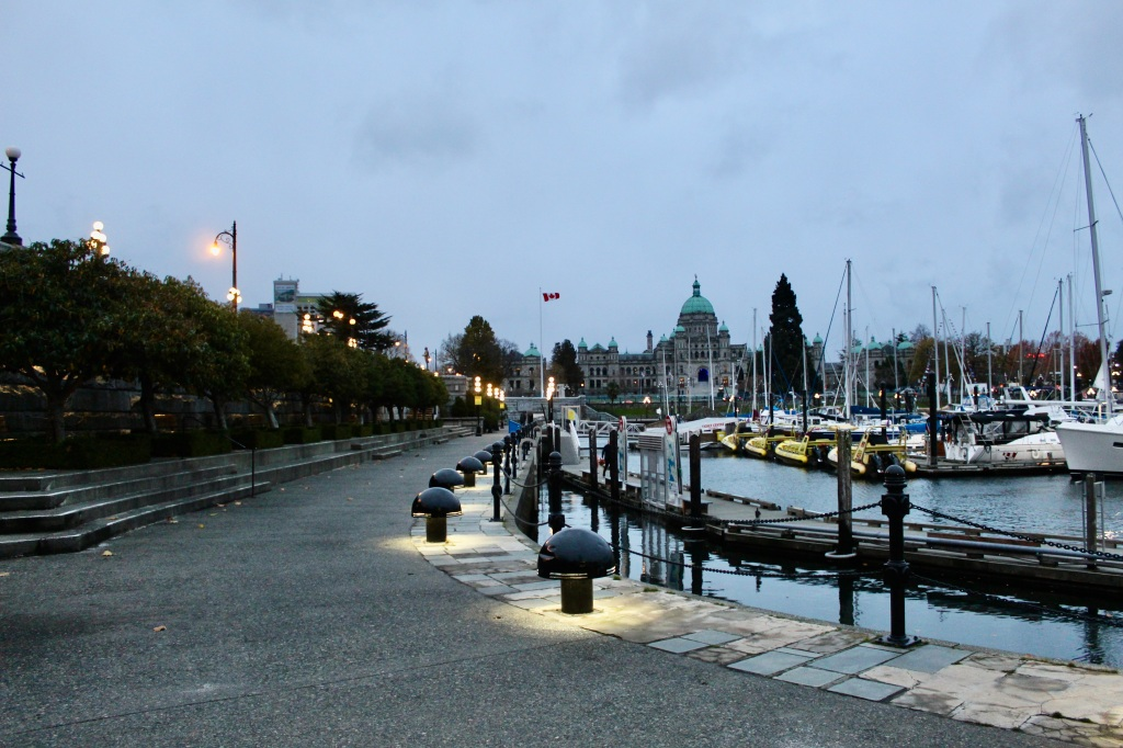 November 14th, 2020 - Victoria, Vancouver Island, British Columbia - Waterfront - Walking towards the B.C.'s Parliament Building