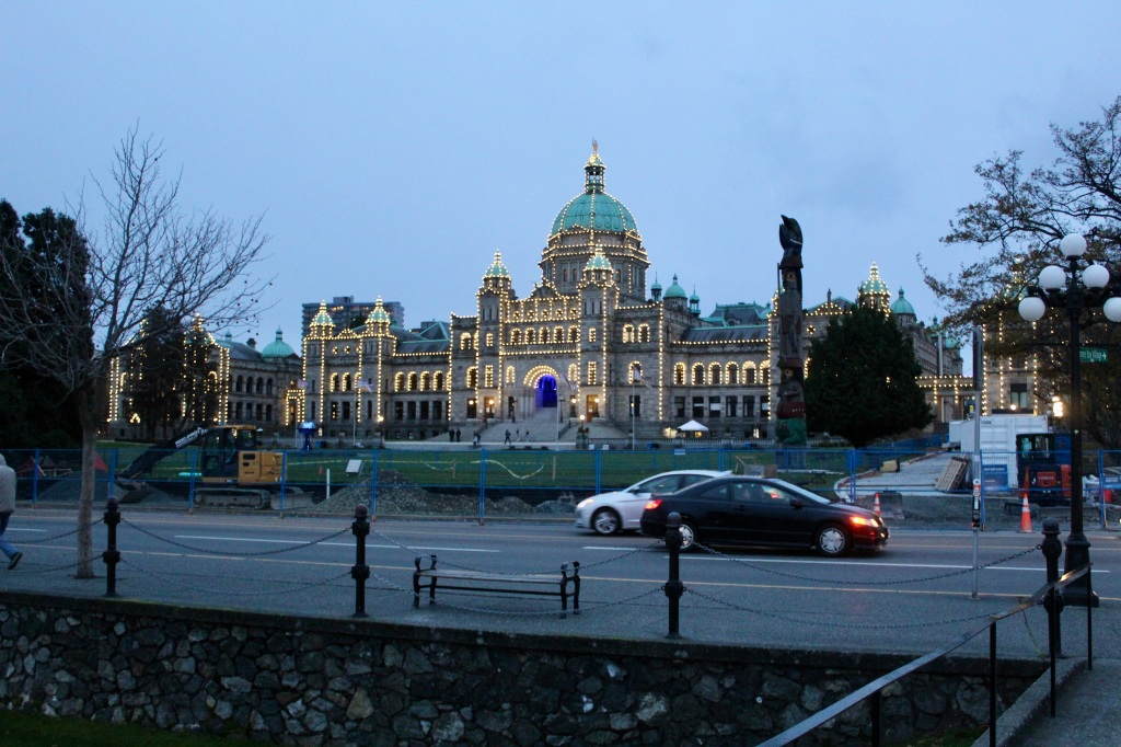 November 14th, 2020 - Victoria, Vancouver Island, British Columbia - Waterfront - British Columbia's Parliament Building - Lights come on!