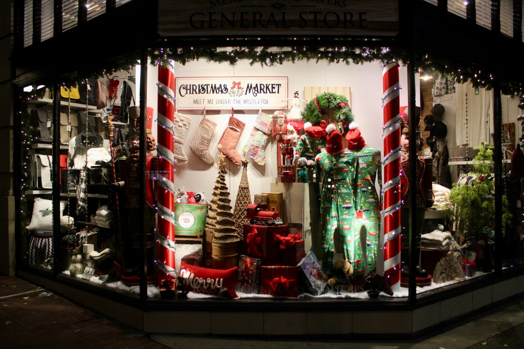 November 14th, 2020 - Victoria, Vancouver Island, British Columbia - Waterfront - Shop window decorated for Christmas!
