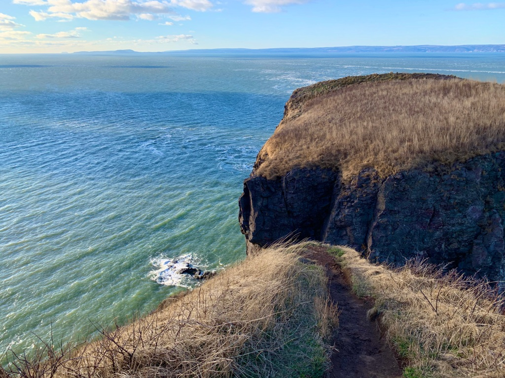 "New Year's Day, 2020 - Cape Split - Walking to the edge - Note the end of the path! My absolute fear of heights screamed, ""STOP HERE!"""