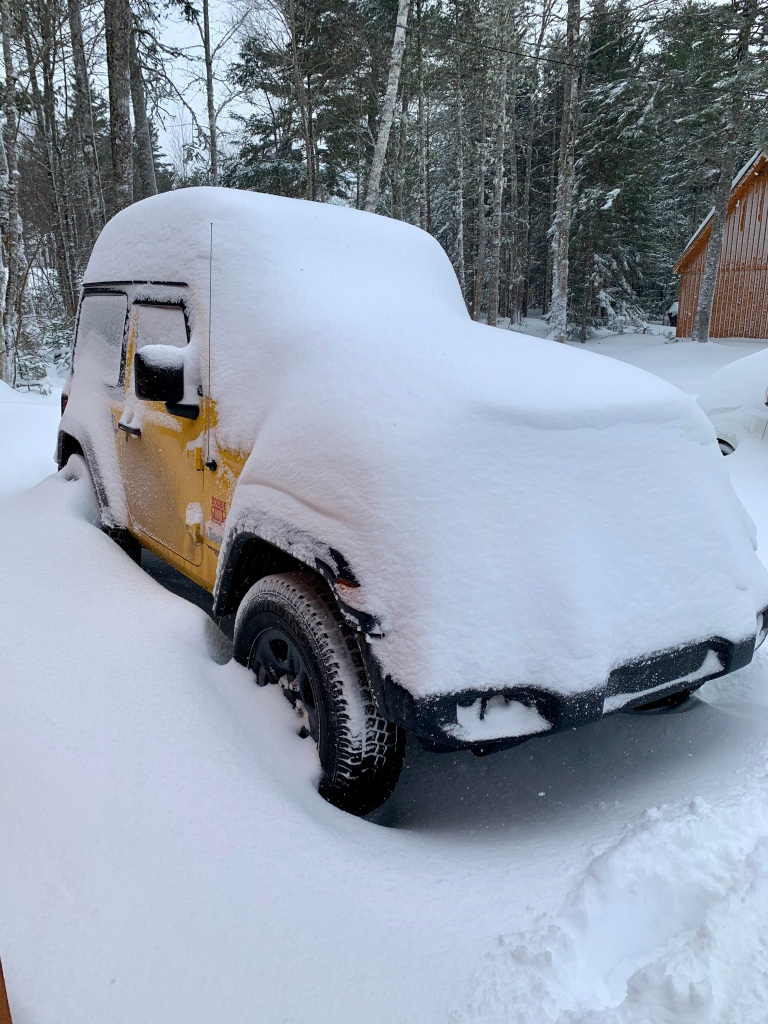 February 8th, 2021 - Snow Day - Falls Lake Resort - My Jeep - Daisy Rae - covered in snow!