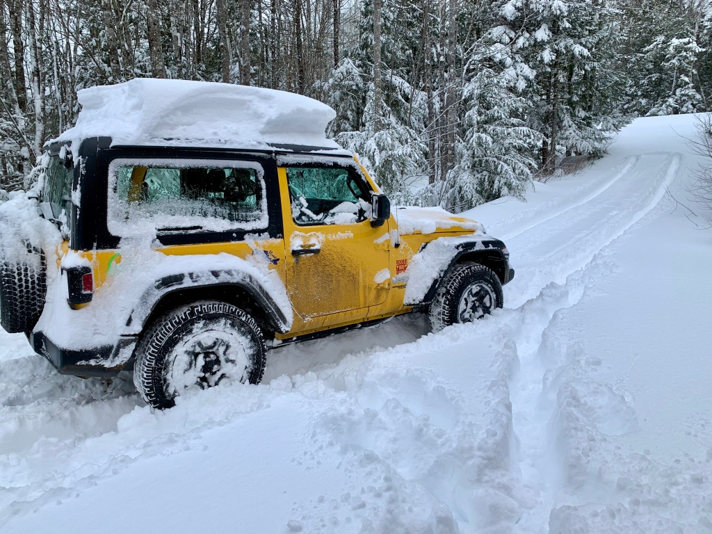 February 8th, 2021 - Snow Day - Falls Lake Resort - My Jeep - Daisy Rae - couldn't make it out of the driveway!