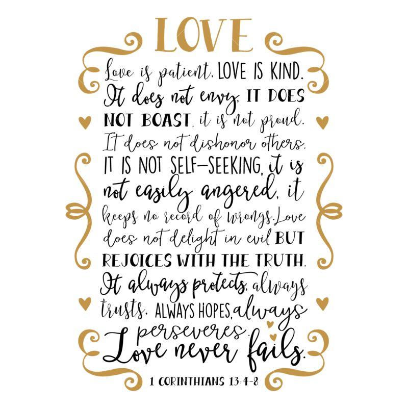 Definition of Love - Corinthians - Love is Patient. Love is Kind.