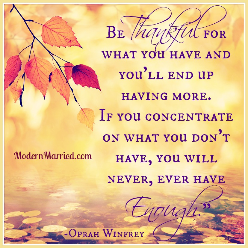 Oprah Winfrey - Gratitude - Marriage - Quote