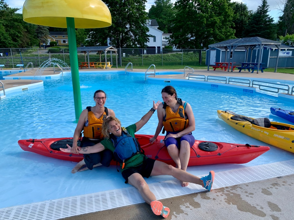 June 22nd, 2021 - Windsor, Nova Scotia - West Hants Swimming Pool - Kayaking Team - Bekah, me and Steph - Glenn and Ray missing from photo