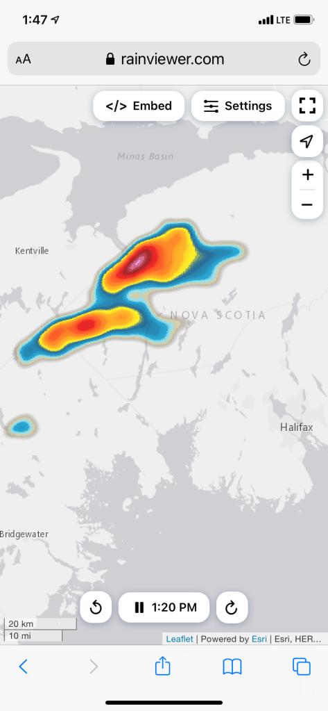 July 27th, 2021 - Windsor, Nova Scotia - Intense rain storm