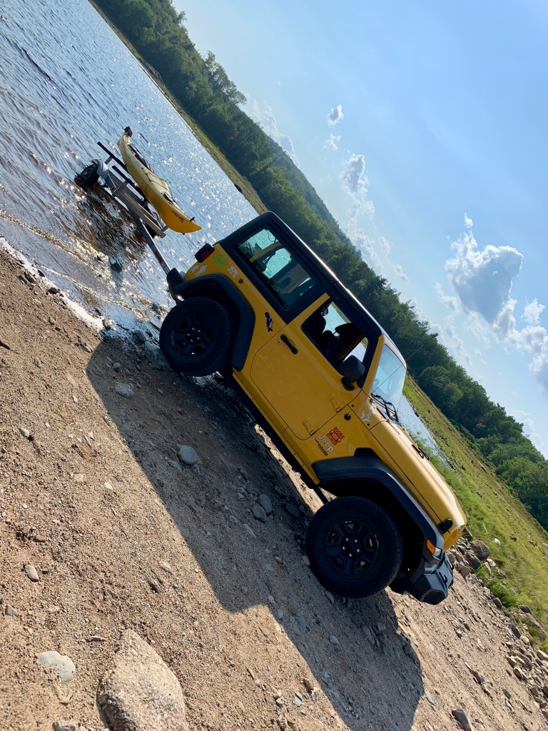 August 26th, 2021 - Panuke Lake - Getting my trailer in the water makes loading it a lot easier!