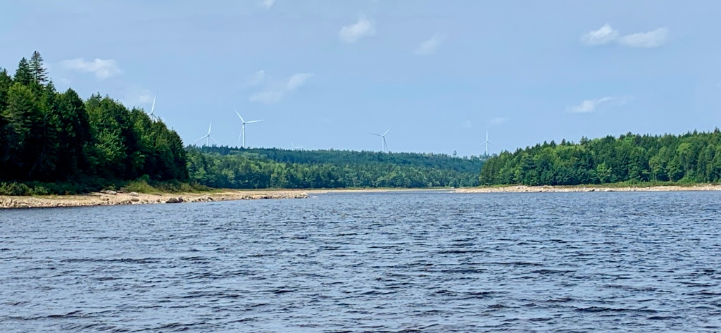August 27th, 2021 - Card Lake - View of the wind turbines from the point