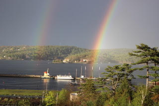 July 1st, 2021 - Bedford, Nova Scotia - Double rainbow over Bedford Basin. Photo taken by mama, Shirley!