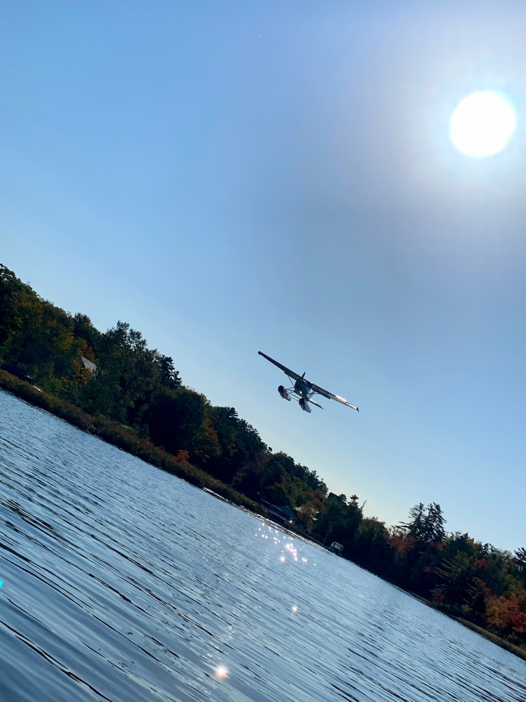 October 9th - Lake William, Waverley, Nova Scotia - Early Morning Autumn Paddle - Floatplane coming in for a landing